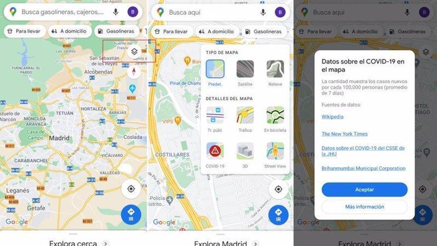 Google Maps: así puedes comprobar la incidencia de covid en tu zona