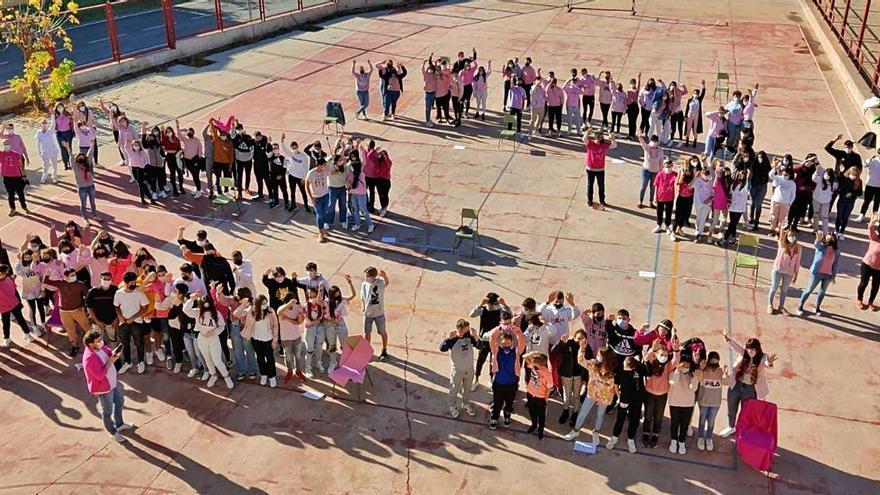 El IES Tierra de Campos se cuelga el lazo rosa