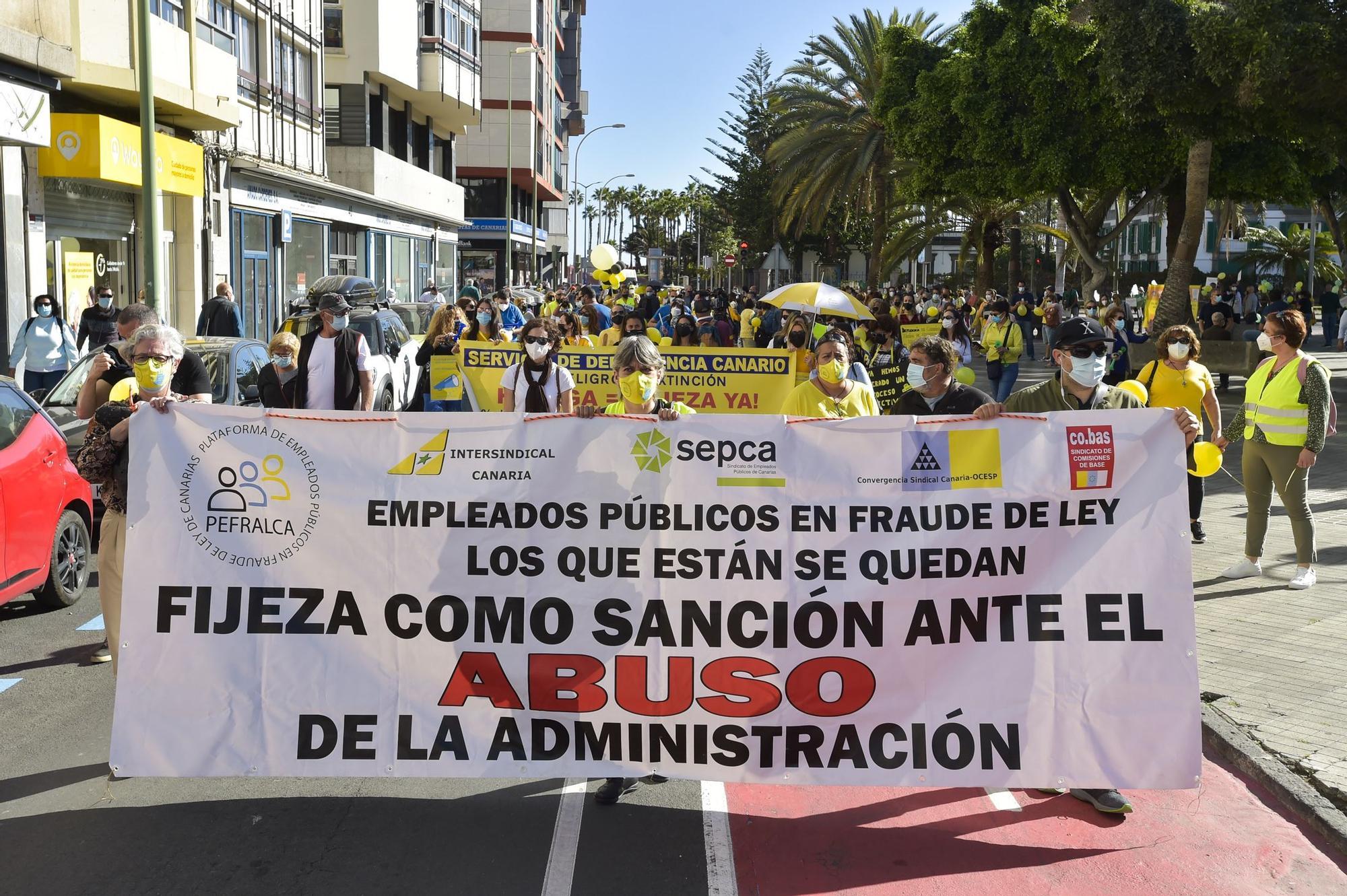 Manifestación de empleados públicos en Las Palmas de Gran Canaria