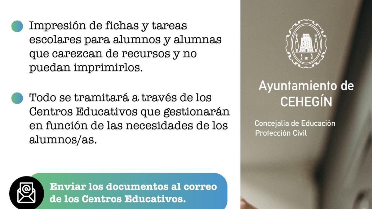 El Ayuntamiento de Cehegín ofrece un servicio gratuito de impresión de tareas escolares