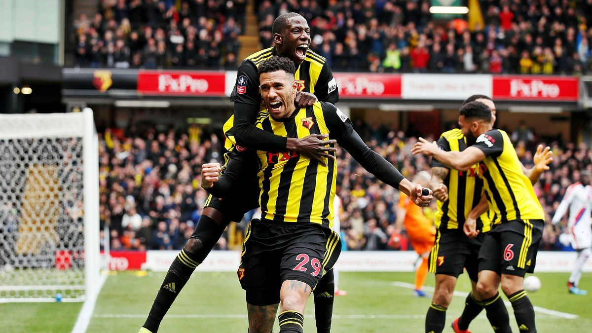 Capoue celebra  un gol con el  Watford. efe