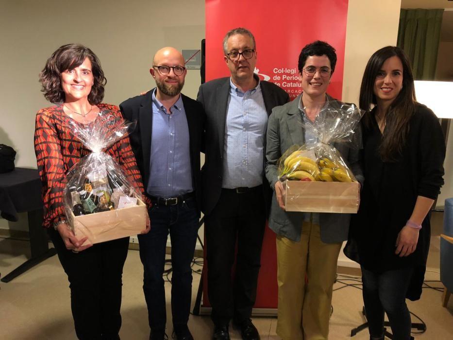 Núria Iglesias, dels Bombers; Ernest Macià, el president de la demarcació, Enric Badia; Natàlia Touzón, de la DGAIA; i Laura Rosel.