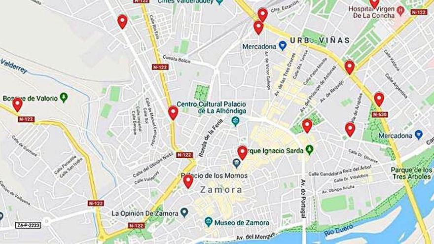 Puntos rojos de mayor siniestralidad urbana en Zamora capital.