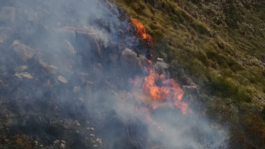Incendio forestal en la finca de Ariant, en Pollença