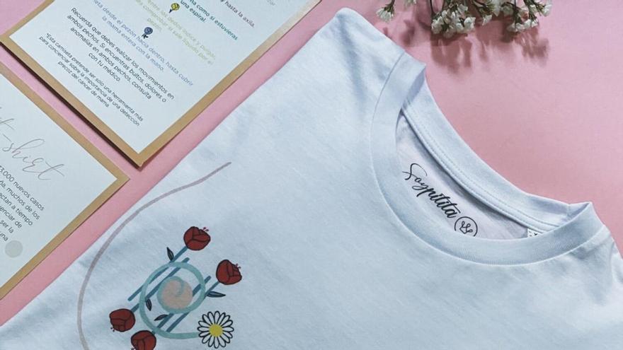 La camiseta murciana que te enseña a autoexplorarte en busca de cáncer de mama