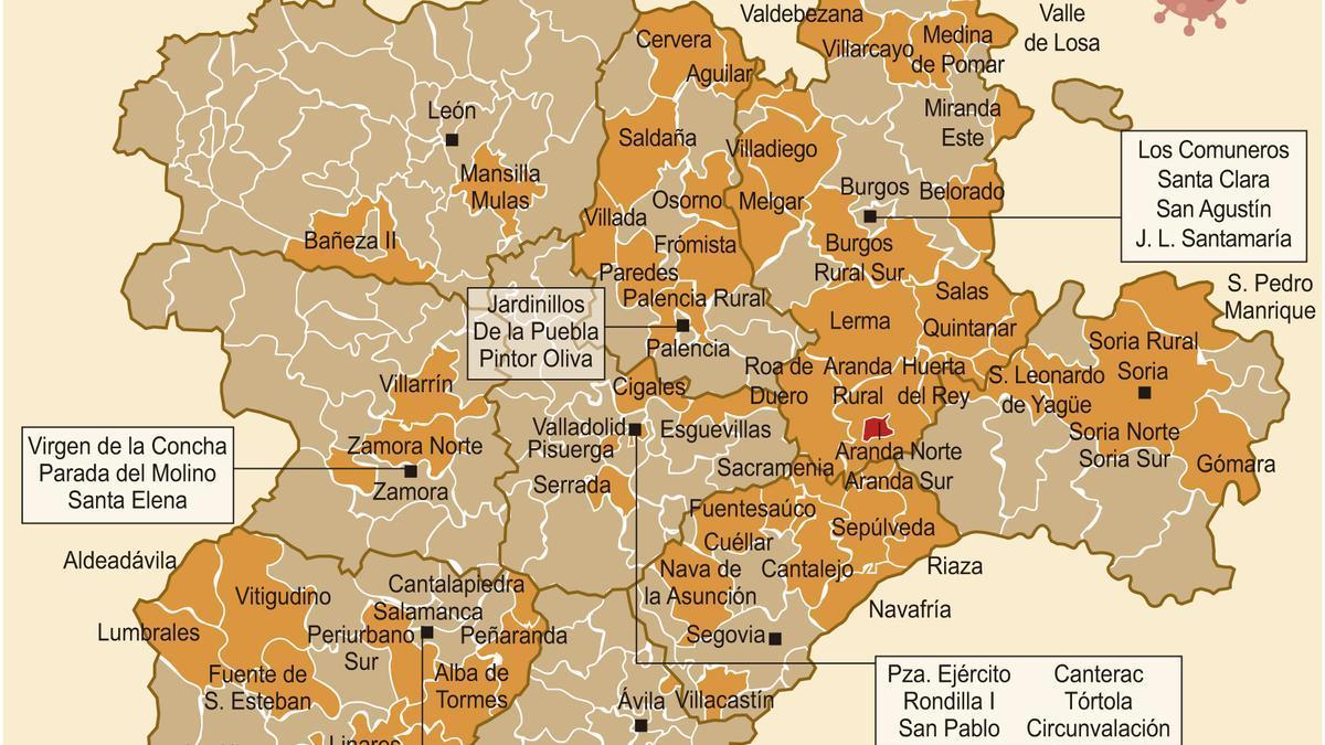 Mapa de riesgo de confinamiento de Castilla y León (martes, 18 de agosto).