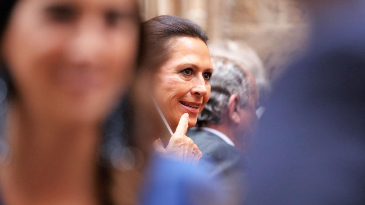 Marta Gayá fotografiada en Palma en la boda del ahijado del rey Felipe VI en el año 2017.
