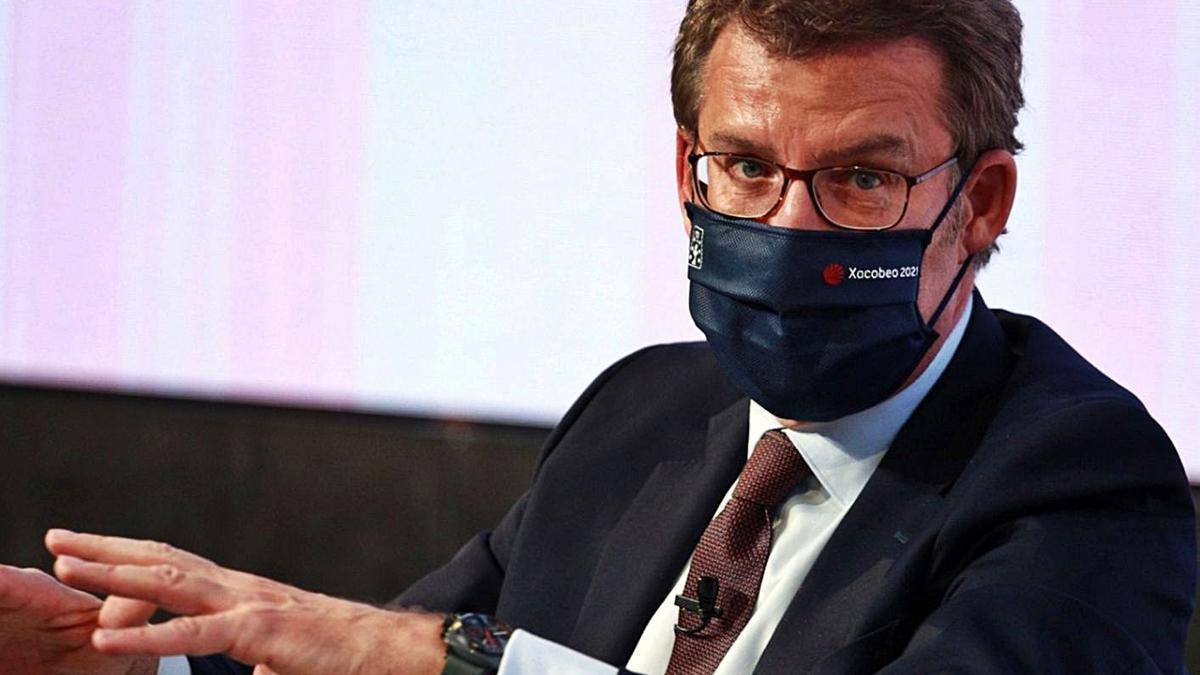 El presidente de la Xunta, ayer en el foro económico 'Wake Up Spain!'. |   // E. P.