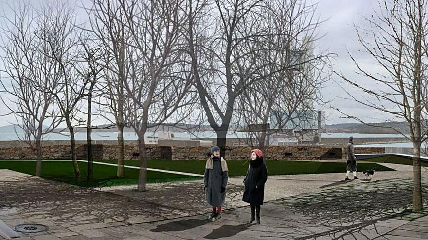 El espacio entre el hospital Abente y Lago y la muralla albergará un nuevo parque