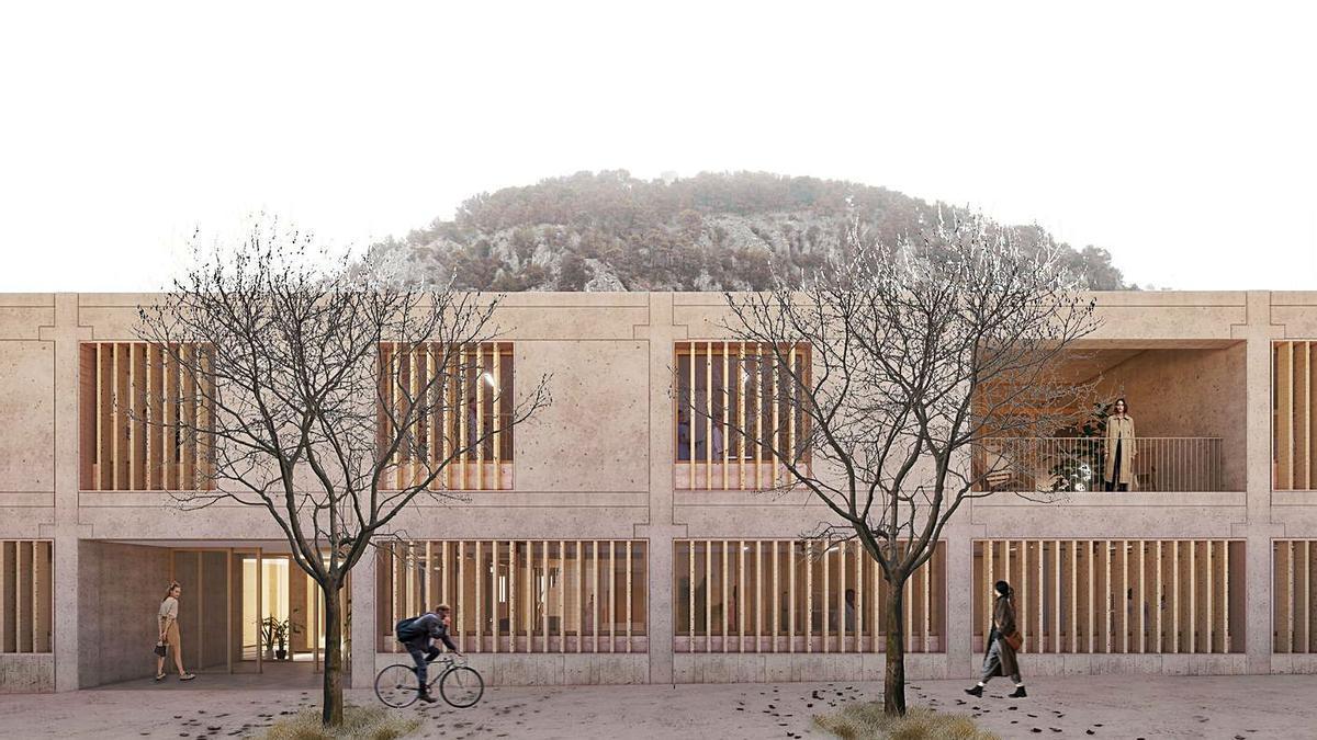 Recreación de la fachada principal del futuro centro sanitario de Pollença.