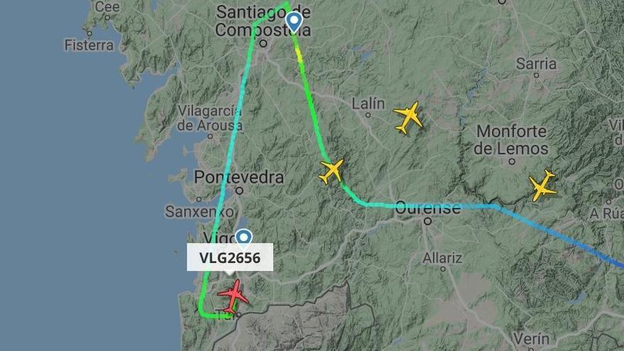 Un avión entre Málaga y Santiago acaba en Vigo por las fuertes rachas de viento