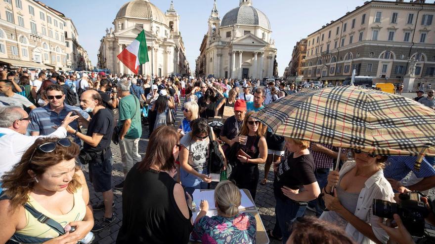 Protestas en Italia contra el pasaporte COVID