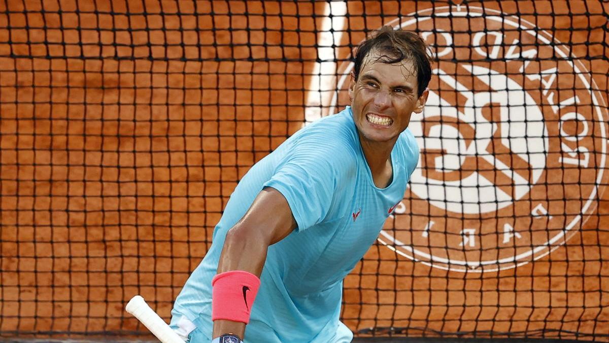 Rafa Nadal, en un partido de Roland Garros en 2020.
