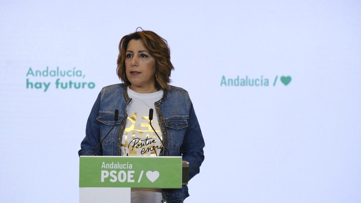 Susana Díaz, en su comparecencia previa a la Ejecutiva del PSOE-A.