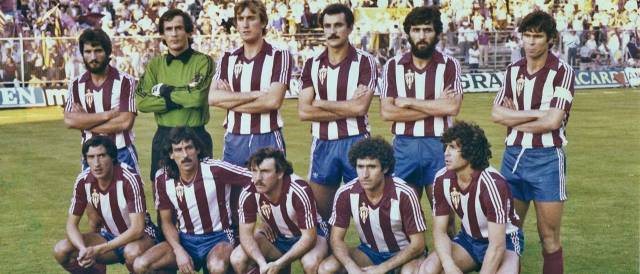 Equipo inicial de la final de Copa del Rey de 1981. Por la izquierda, agachados, Abel, Mesa, Cundi, Uría y Ferrero. Arriba, por izquierda, Redondo, Rivero, Maceda, Joaquín, Jiménez y Ciriaco. | LNE