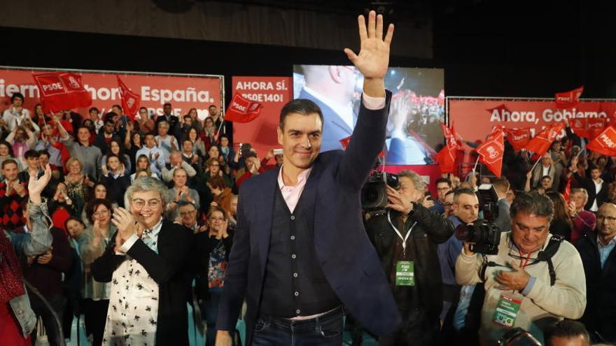 Pedro Sánchez, en el acto electoral del PSOE en Gijón