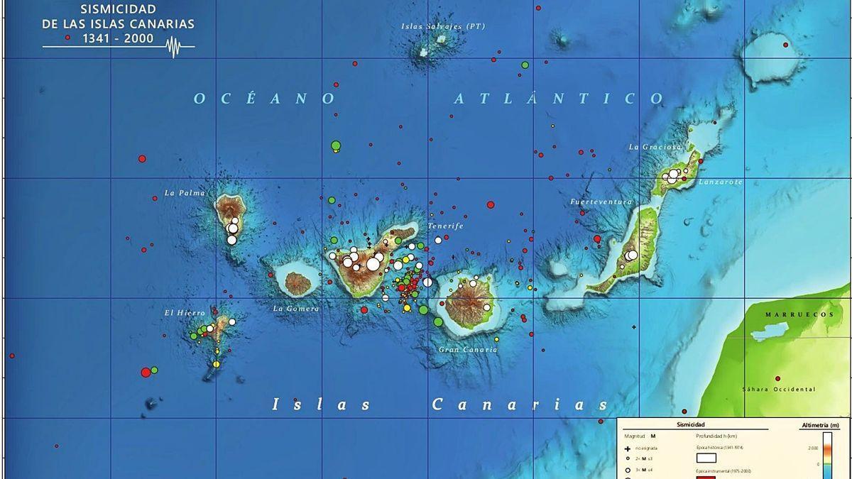 Mapa de sismicidad de Canarias