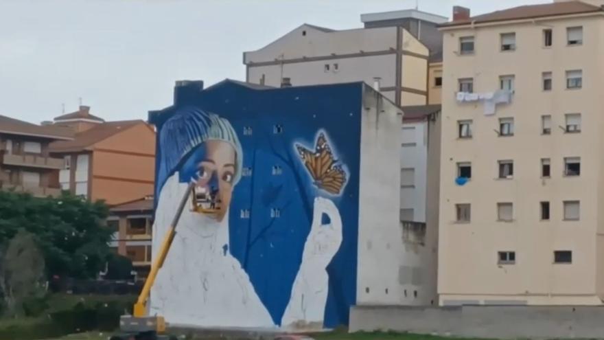 El valenciano Dridali pinta un grafiti de grandes dimensiones en Asturias