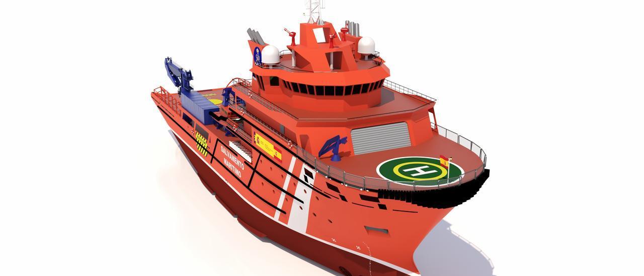 Recreación del nuevo remolcador de Salvamento Marítimo