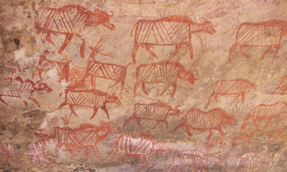 Diversos zoomorfos calcolíticos del abrigo rupestre de Hati Tool