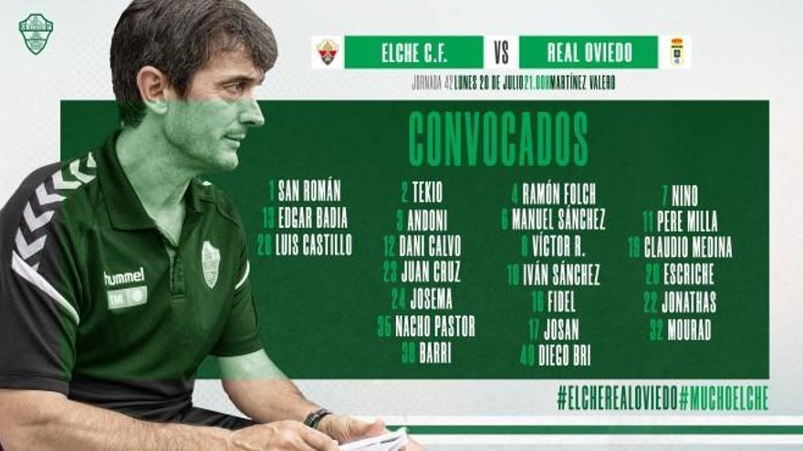 Pacheta convoca a 23 jugadores para el partido frente al Oviedo