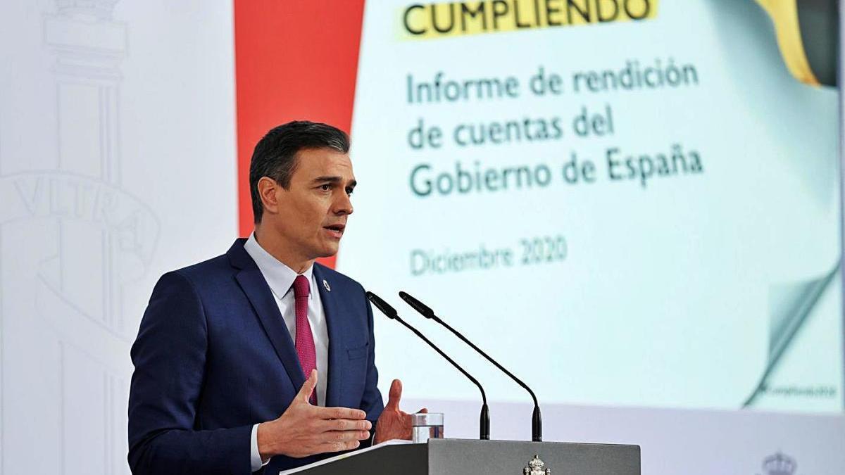 Pedro Sánchez, ahir en roda de premsa