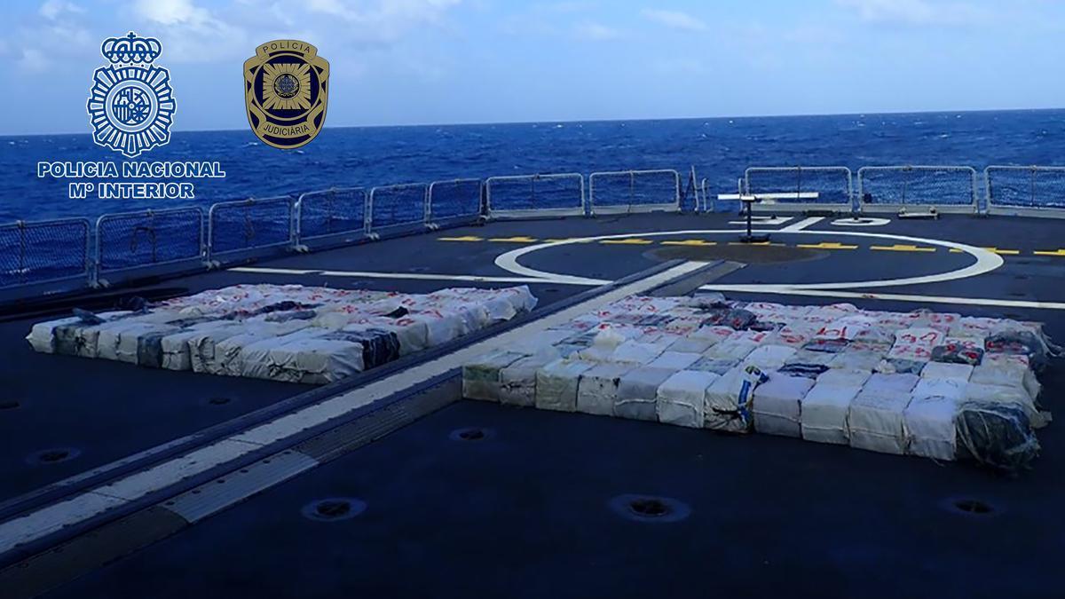La droga intervenida en la operación conjunta de la policía española y la portuguesa.