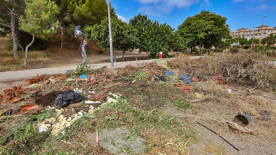 Imagen del verano pasado de una de las zonas verdes con deficiencias y que debería mantener el Ayuntamiento en Orihuela Costa. | TONY SEVILLA