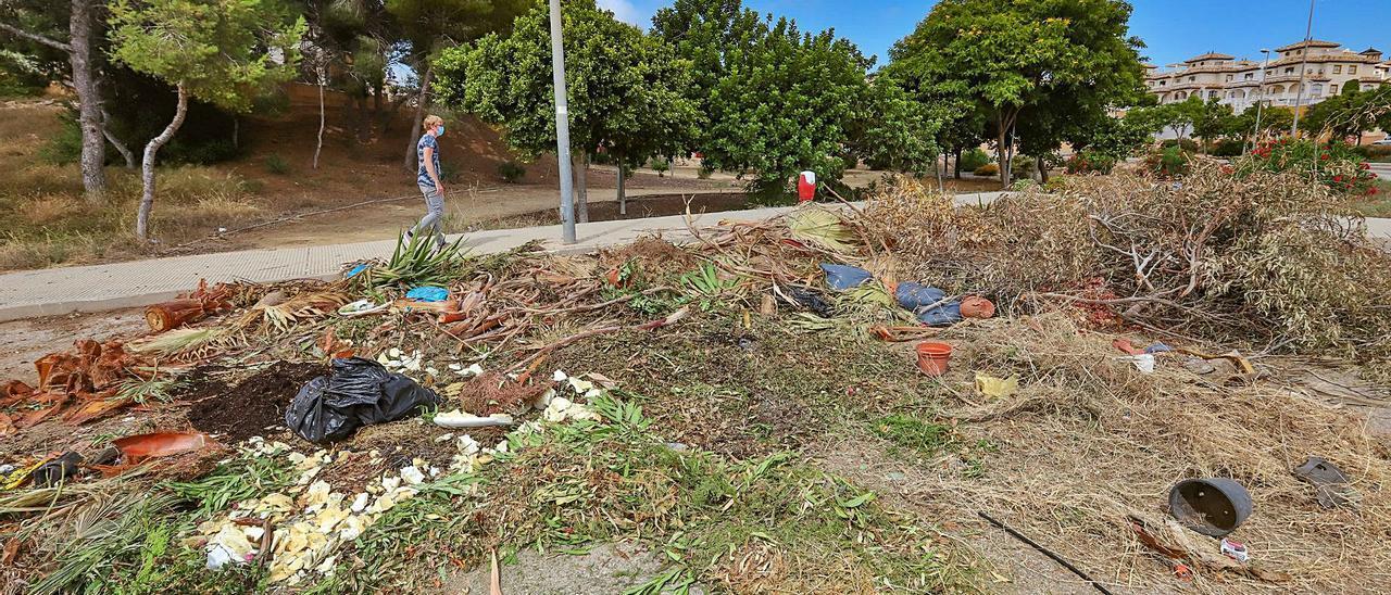 Imagen del verano pasado de una de las zonas verdes con deficiencias y que debería mantener el Ayuntamiento en Orihuela Costa. |