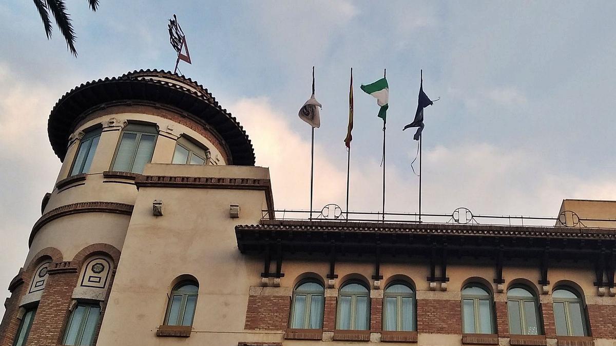 Las banderas, en una foto tomada el lunes.
