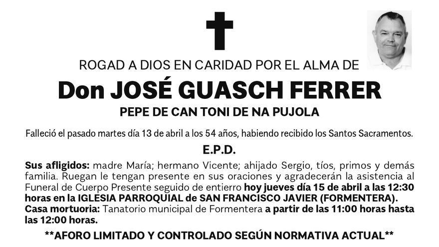 Esquela José Guasch Ferrer