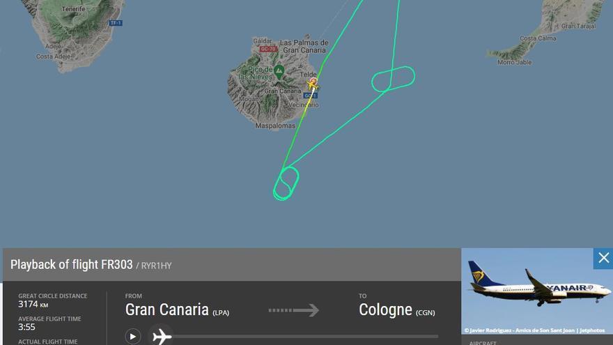 Un avión regresa a Gran Canaria por un fallo técnico