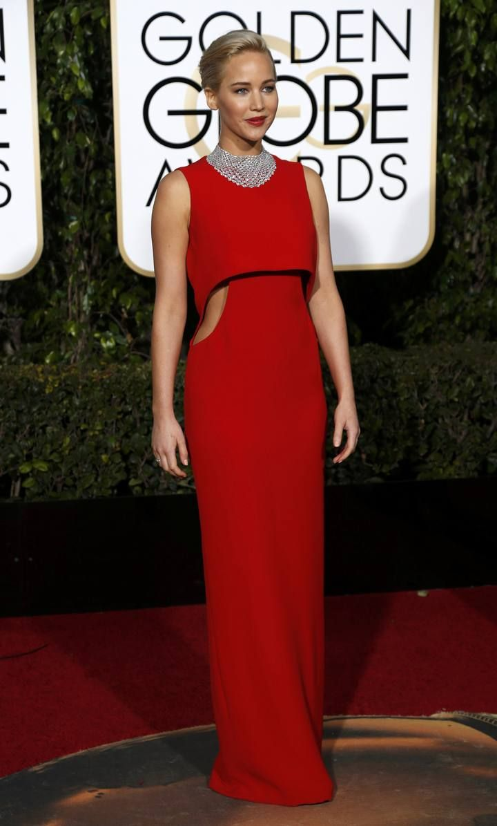 Jennifer Lawrence arrives at the 73rd Golden Globe Awards in Beverly Hills