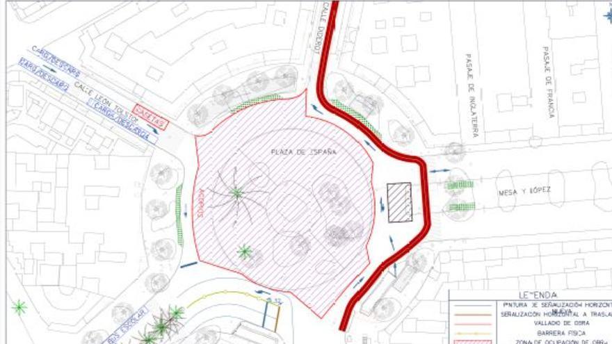 Las Palmas de Gran Canaria reordena este lunes el tráfico de la Plaza de España por las obras en la zona