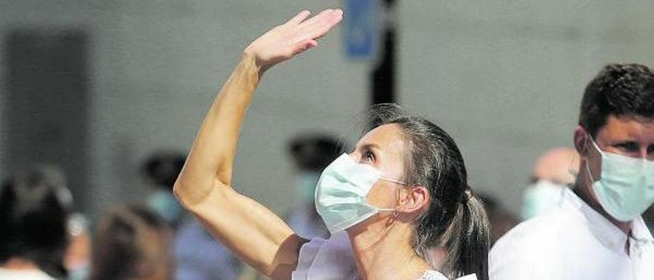 La Reina Letizia, este verano, en una de sus apariciones públicas en Mallorca.