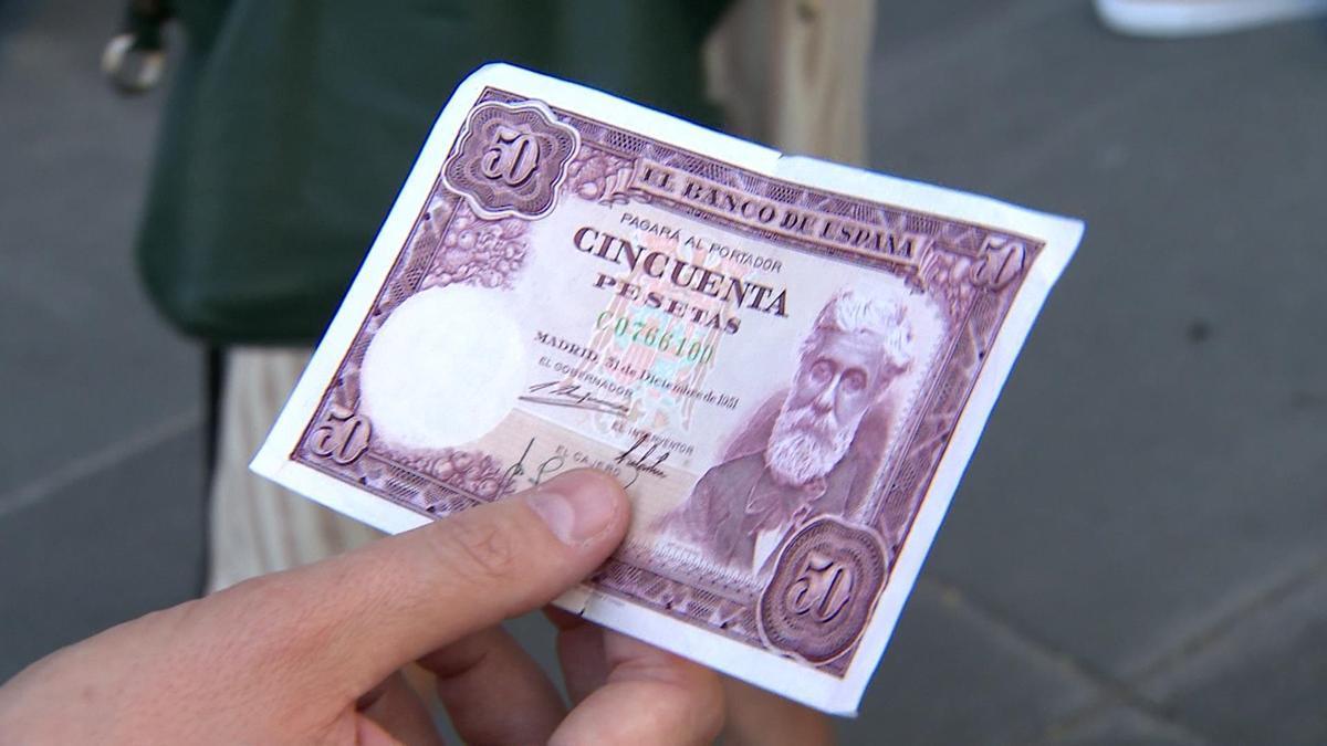 Billete de cincuenta pesetas.