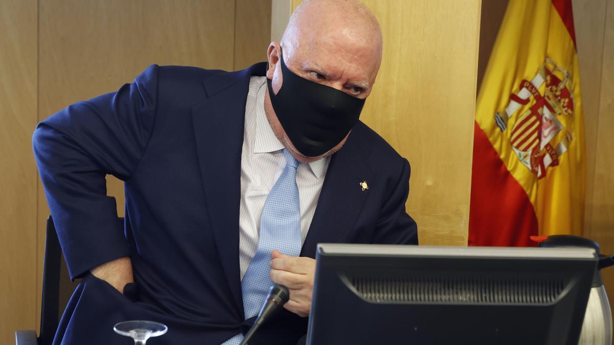 Villarejo, durante su comparecencia en la comisión de la Kitchen.