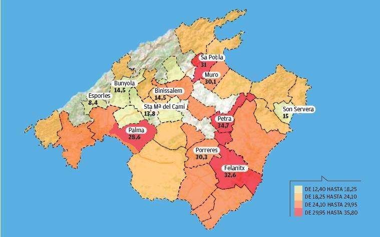 Las zonas rojas de la pobreza infantil en Mallorca. El Alto Comisionado publica la estadística con datos del parón del INE y de la Agencia Tributaria.