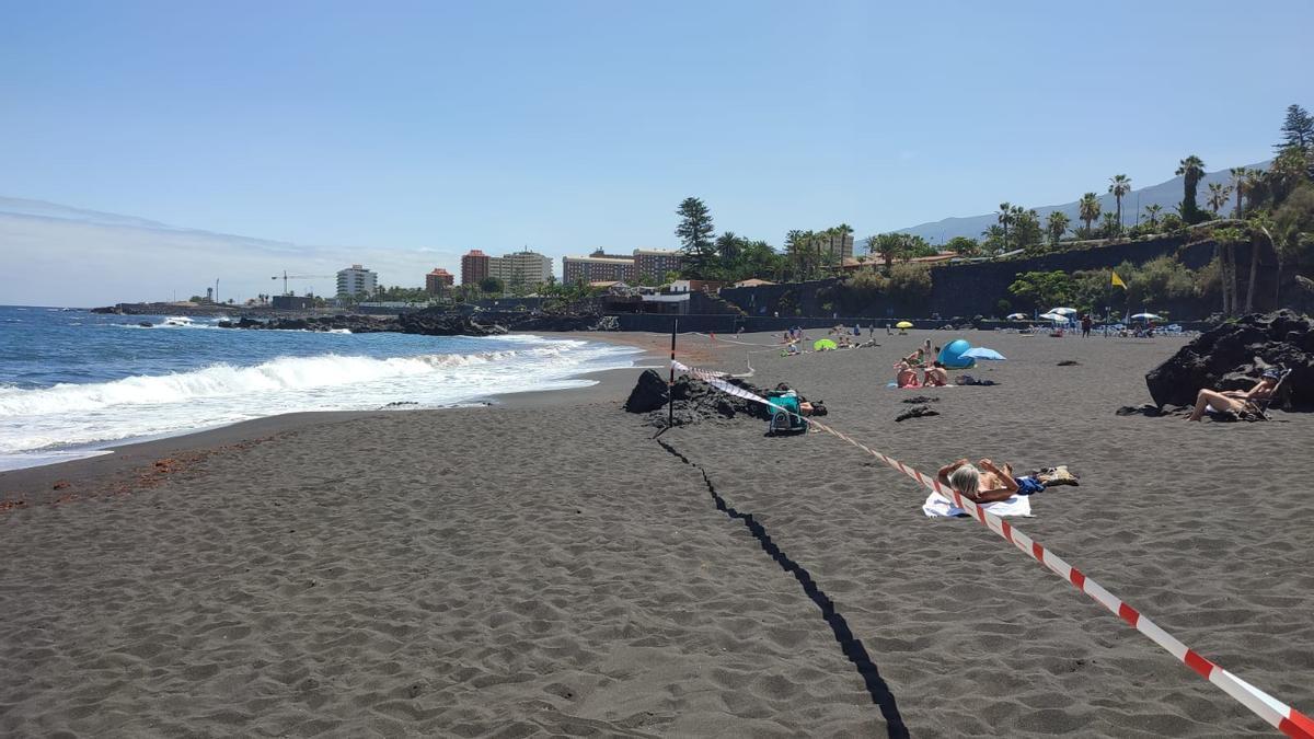 La playa fue balizada en la mañana del miércoles 21 de julio para evitar el baño