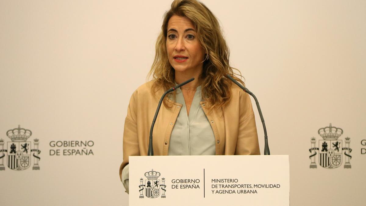 La ministra de Transports, Raquel Sánchez, en la presentació del DORA 2