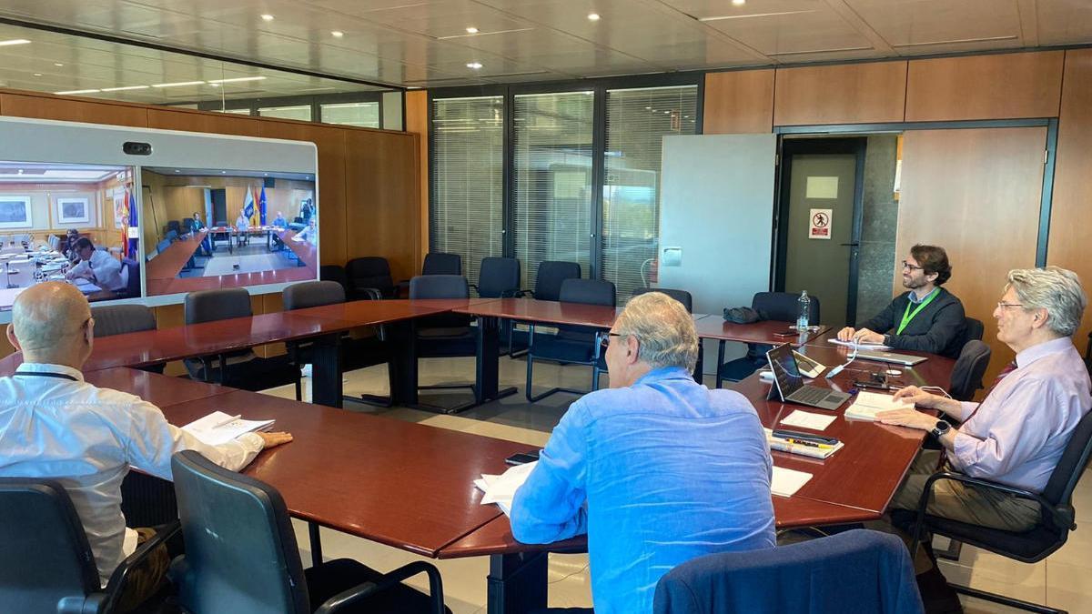 El consejero de Sanidad canario, Julio Pérez, durante la reunión de este miércoles con el ministro Salvador Illa
