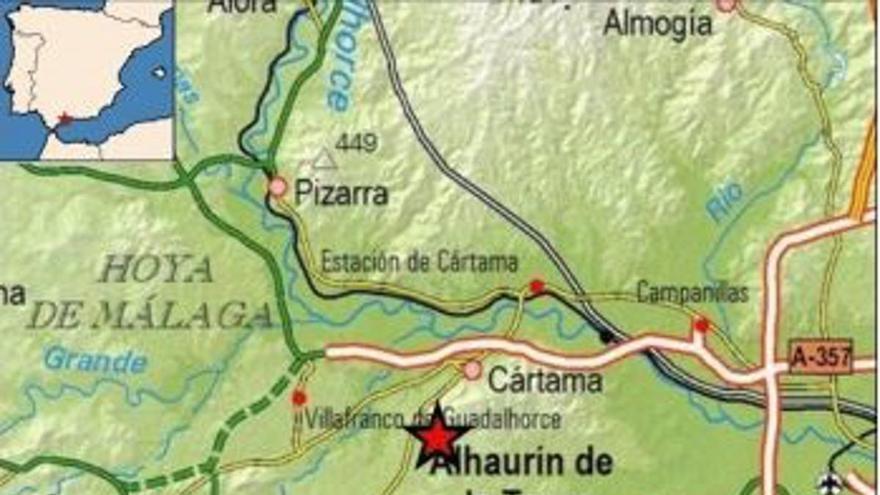 Registrado un terremoto de 2,8 grados con epicentro en Cártama