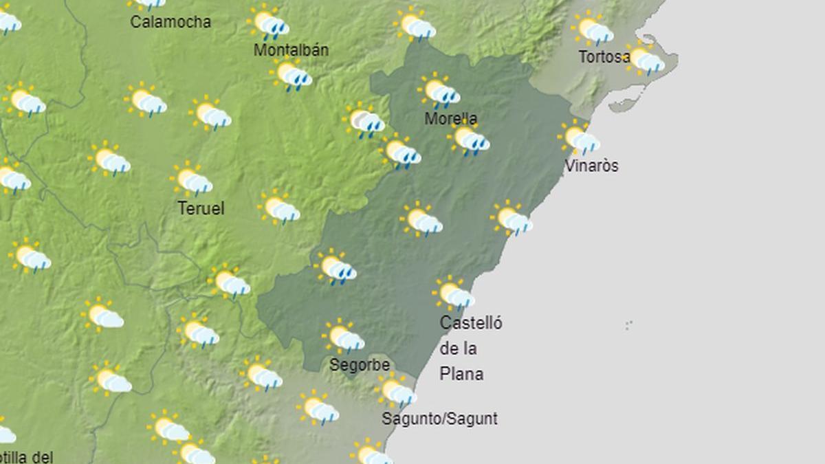 Este jueves las lluvias serán generalizadas en toda la provincia según la predicción que muestra Aemet.