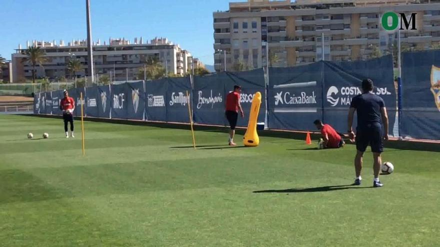 Último entrenamiento del Málaga CF antes de viajar a Riazor