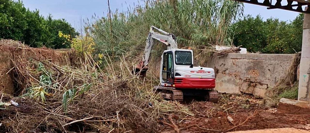 Labores de limpieza del barranco impulsadas por la CHJ que se iniciaron la semana pasada.   LEVANTE-EMV