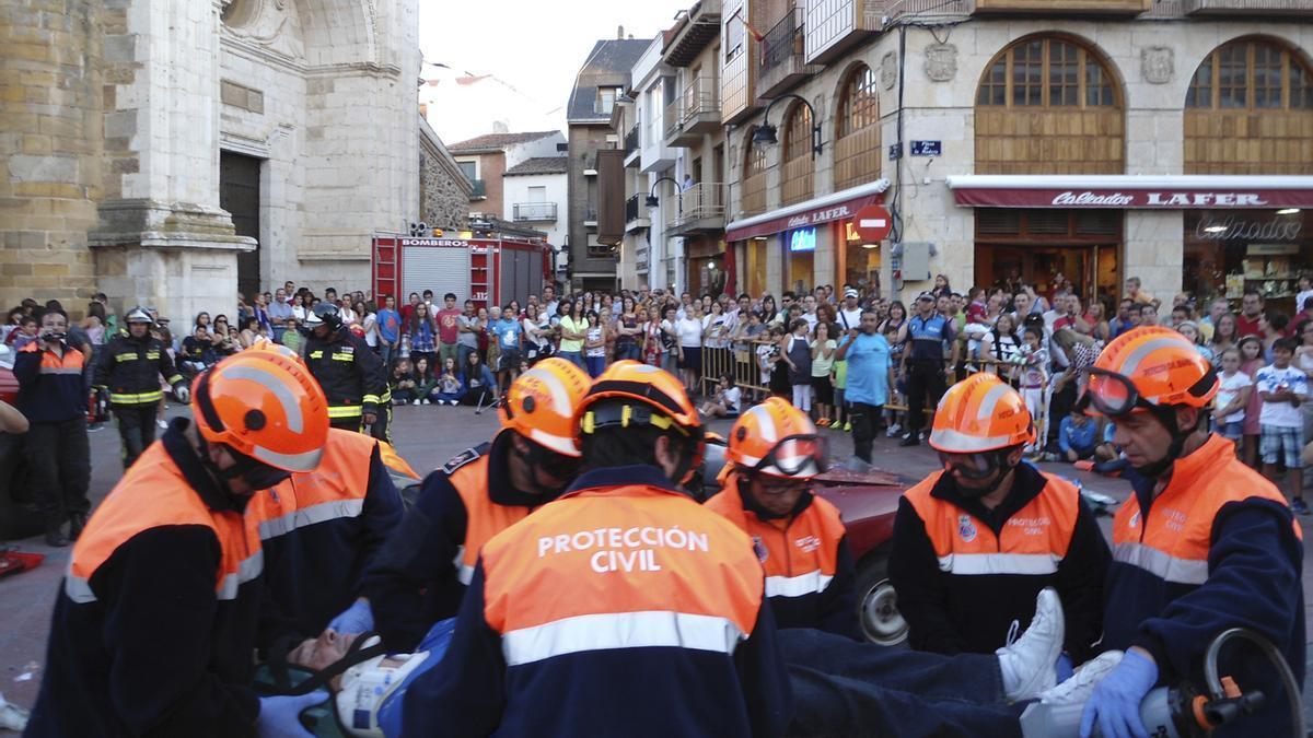 Simulacro de Protección Civil en Benavente