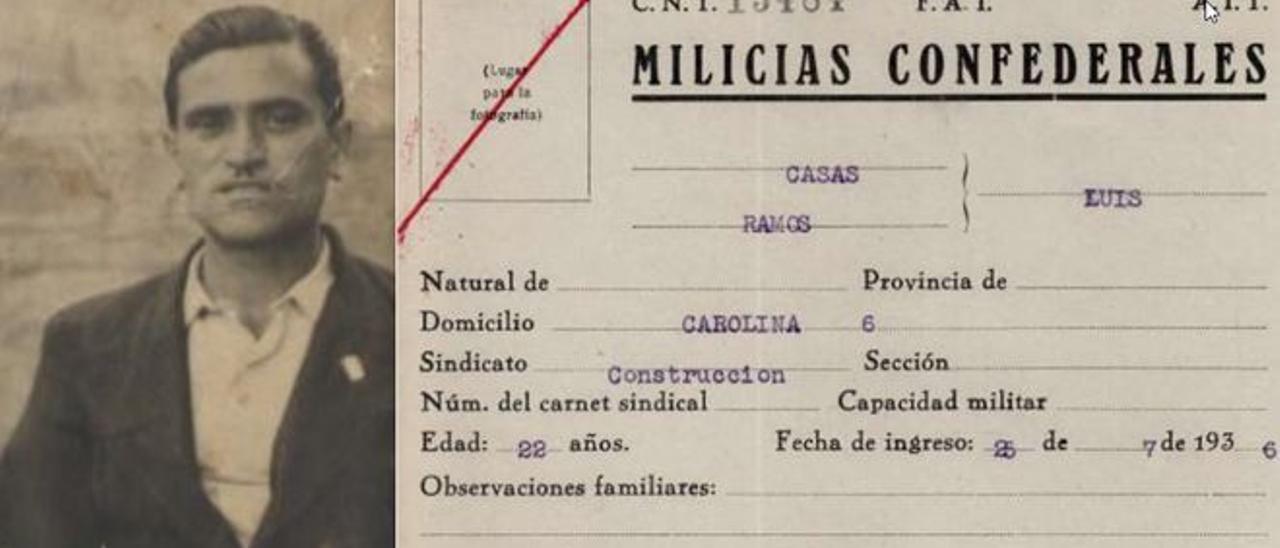 El brigadista republicano Luis Casas y su ficha de alistamiento en la Guerra Civil.
