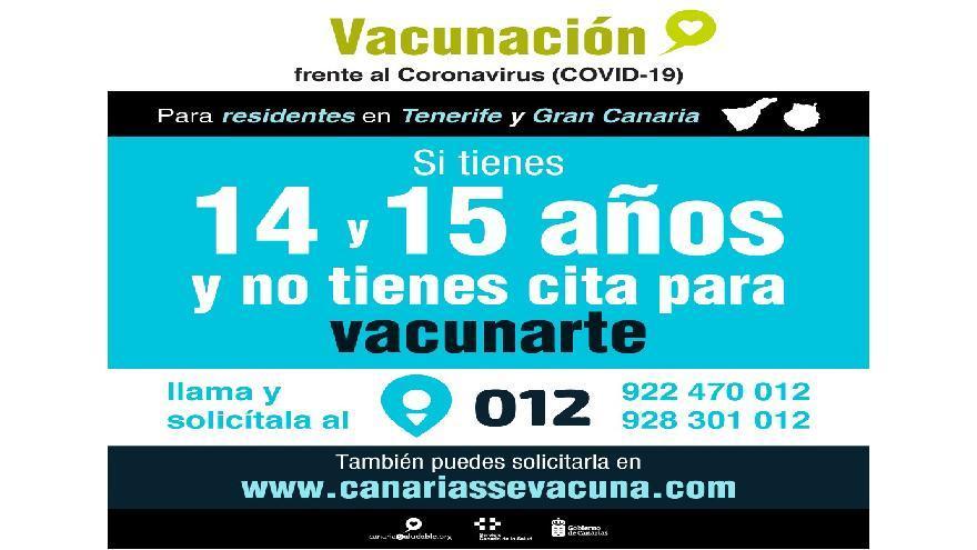 Los residentes en Tenerife y Gran Canaria de 14 y 15 años ya pueden pedir cita previa para vacunarse