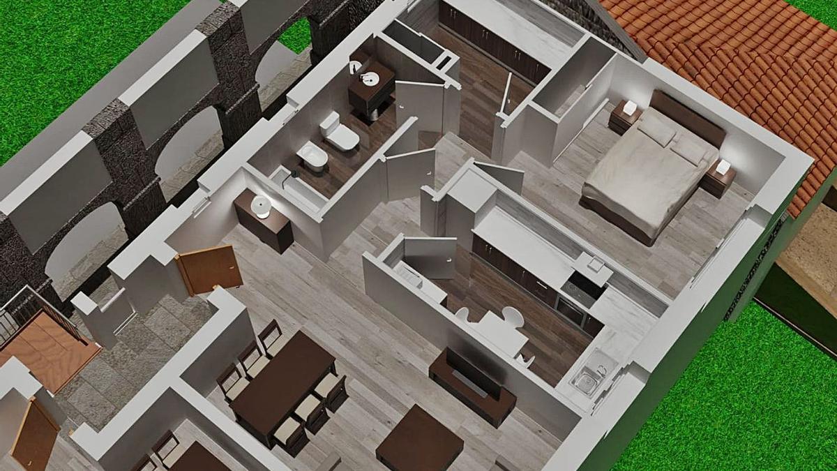 Infografía en la que se aprecia la distribución interior de una vivienda y la fachada frontal del inmueble.