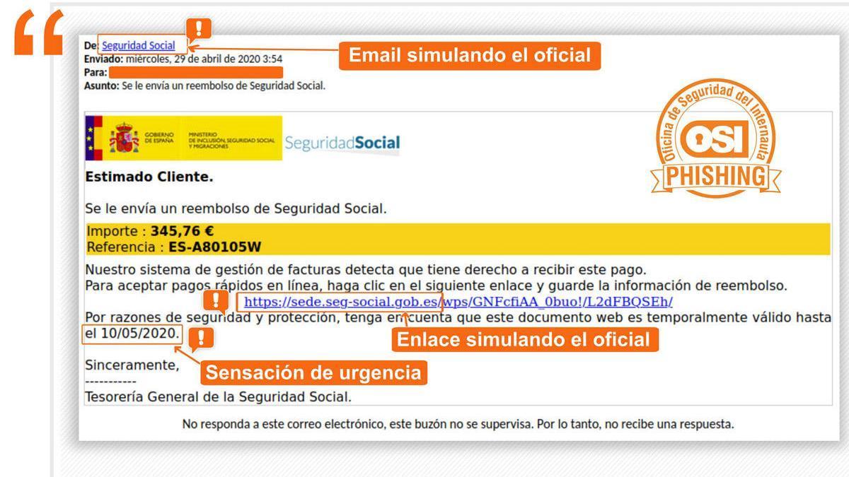 La alerta del Instituto Nacional de Ciberseguridad de la campaña de 'phishing'.